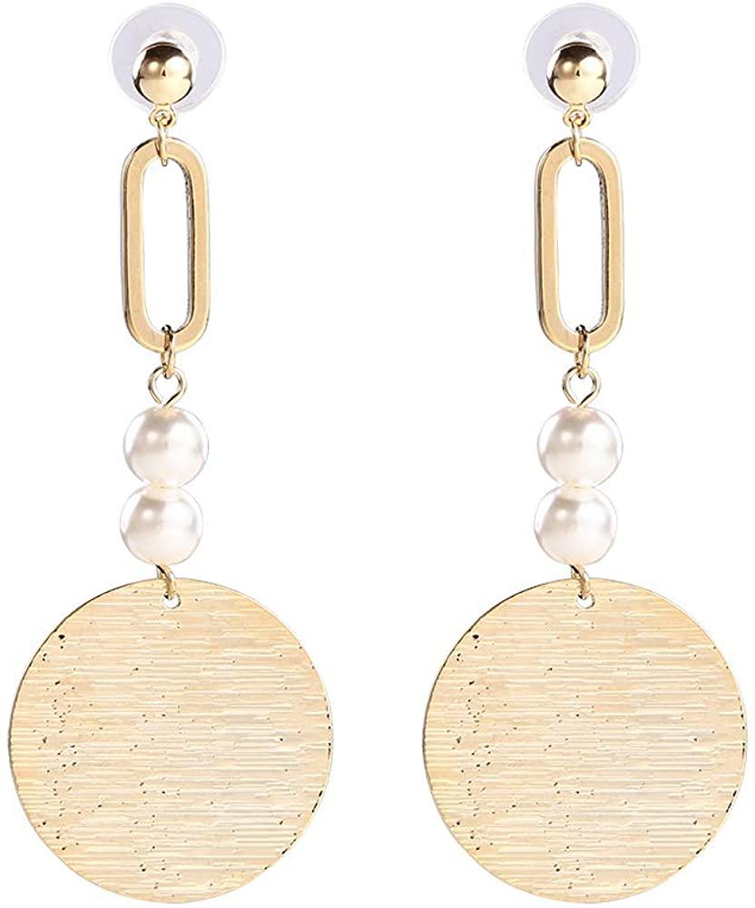 Mavota Womens Gold Plated Metal Round Drop Dangle Earrings for Women Girls