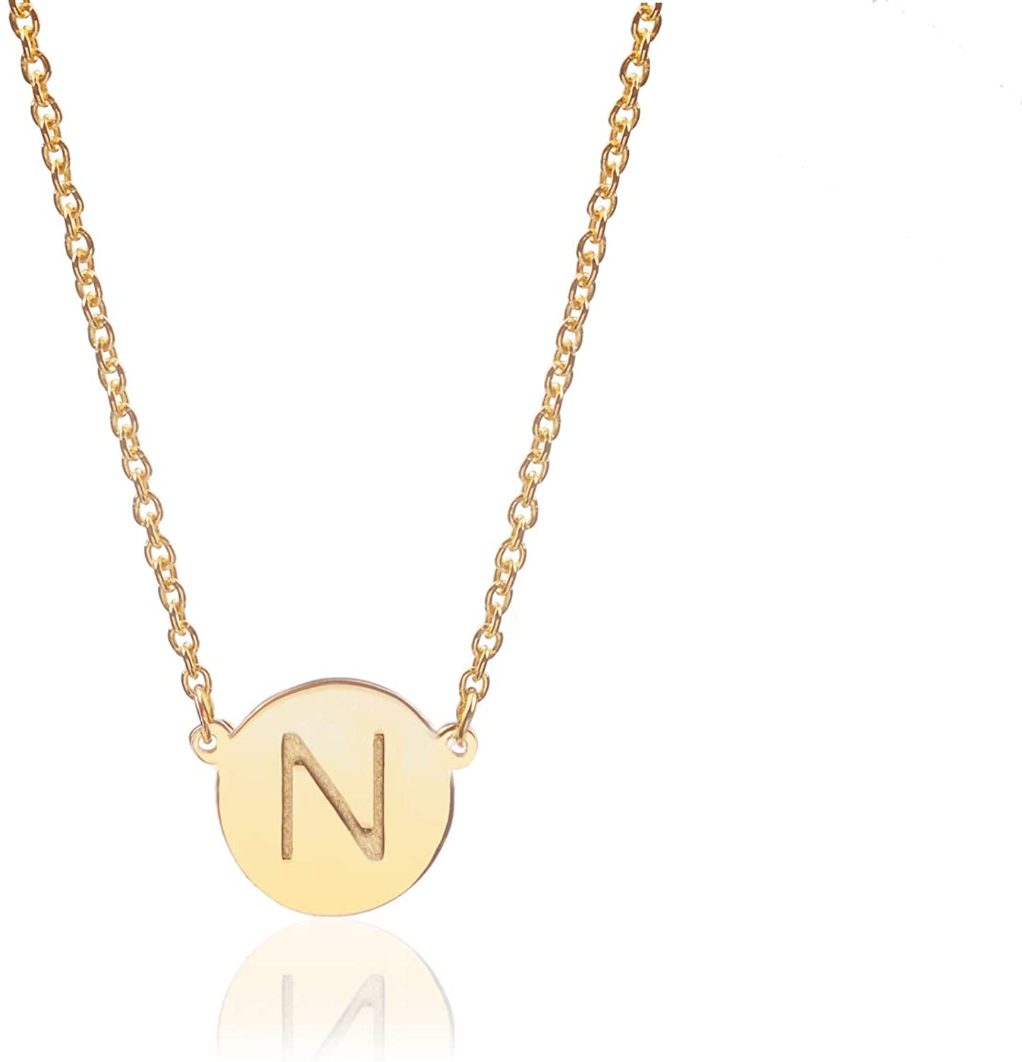 Deidreamers Sterling Silver Round Disk Initial Necklace