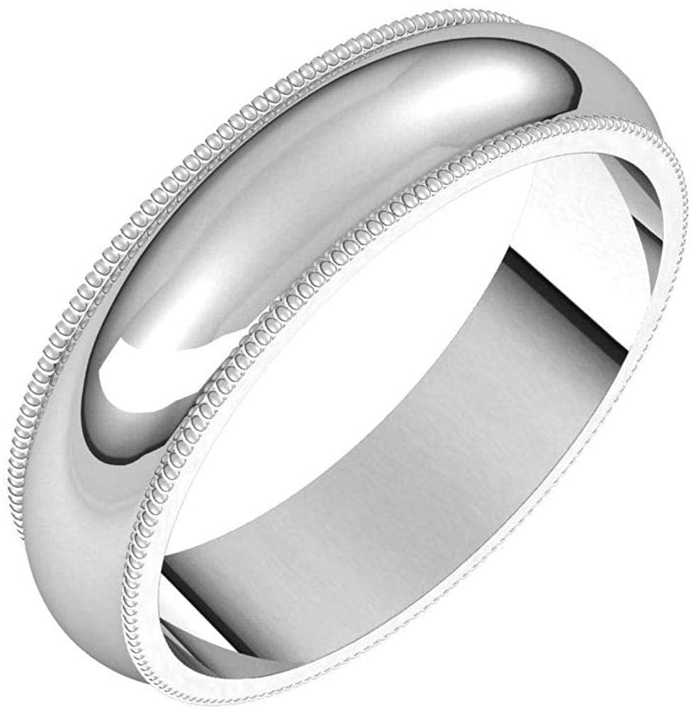 Tarnish Resistant Solid 925 Sterling Silver 5mm Milgrain Half Round Wedding Band Size 10