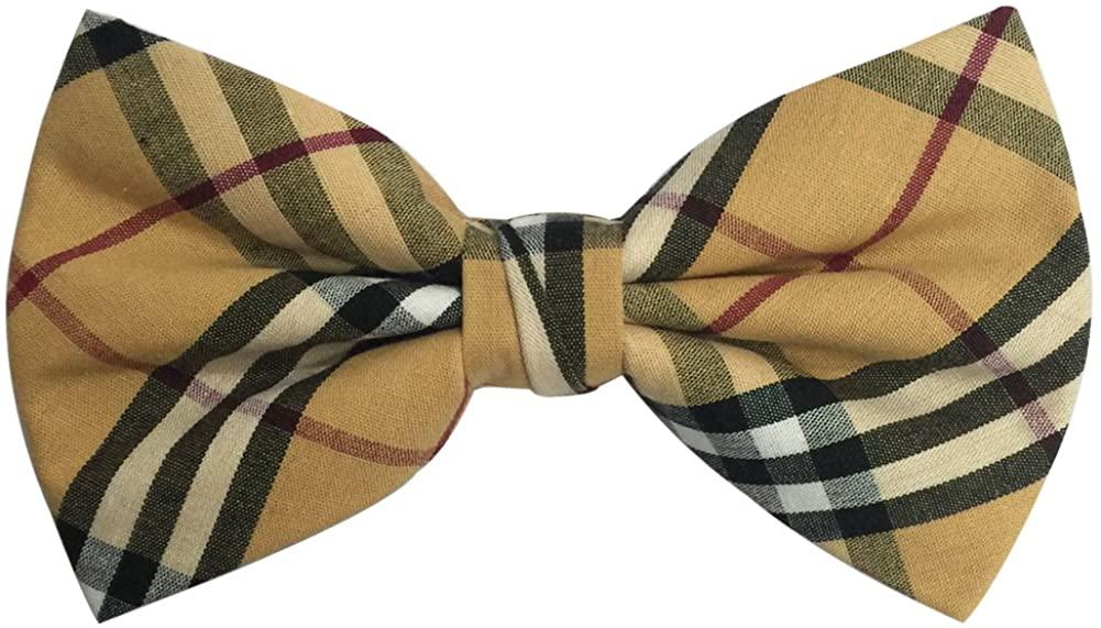 AINOW Mens Cotton Adjustable Tuxedo Handmade Pre-tied Bowtie Multi Color Plaid Pattern Ties