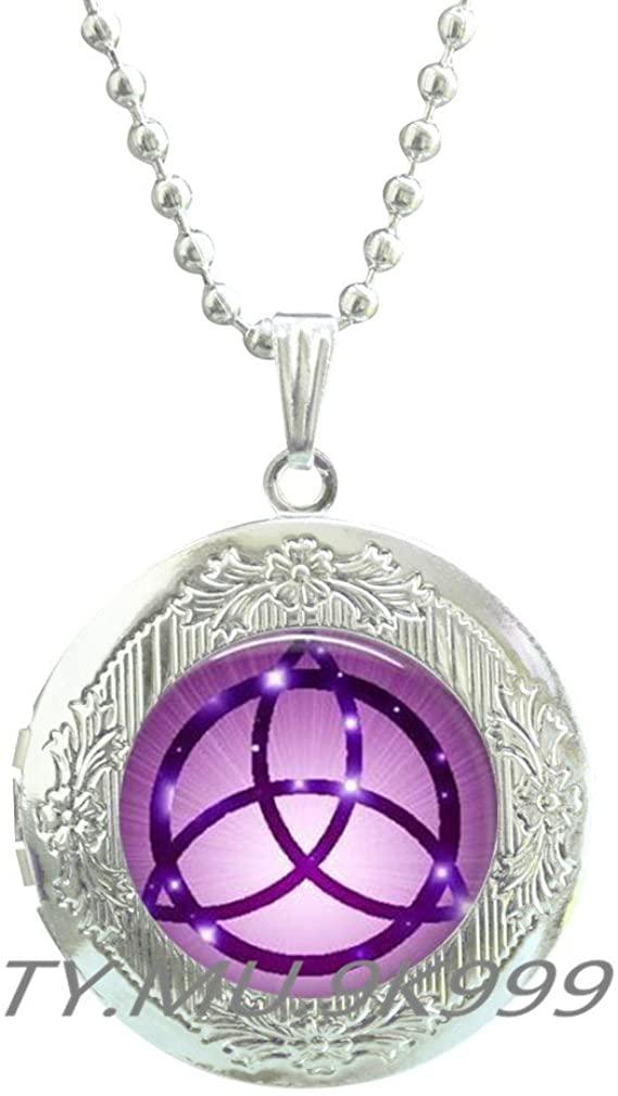 Yao0dianxku Trinity Locket Necklace~Trinity Knot~Celtic Large Trinity Knot Locket Necklace~Celtic Locket Necklace~Mother Gift~Daughter Gift~Celtic Jewelry~Celtic Gift.Y107