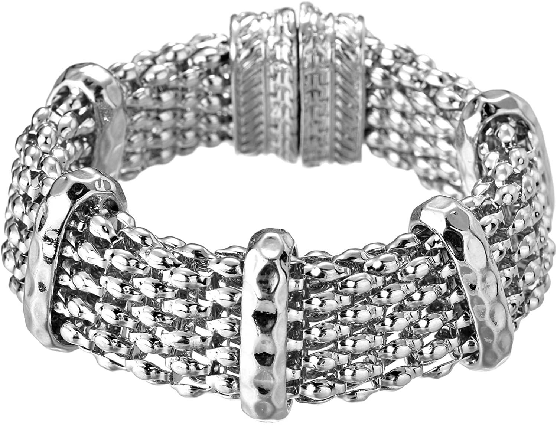 Jones New York Silver Twisted Layer Punk Rock Chain Bangle Bracelet