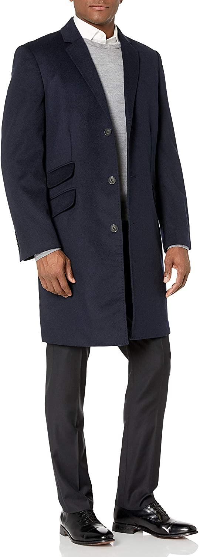 Hart Schaffner Marx Men's Shelby Cashmere-Blend Top Coat, navy, 36R