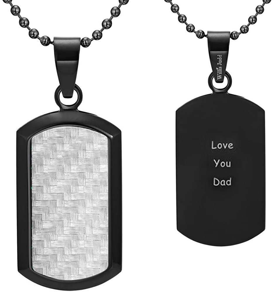 Willis Judd Dog Tag Pendant Carbon Fiber Engraved Love You Dad 22