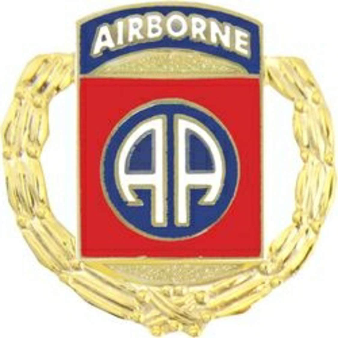 US Army 82nd Airborne Division Gold Wreath Lapel Pin or Hat Pin (metal, 1 1/8
