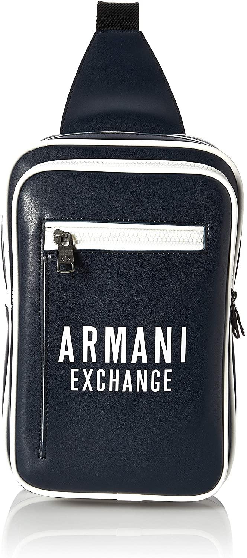 A|X Armani Exchange Men's Bold Logo Eco Leather Sling Bag, Blue/White - Blue/White, OS
