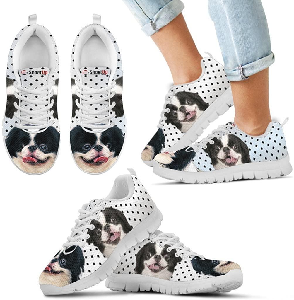 Pet Animal Designs Japanese Chin Black Dots Print Running Shoes for Kids