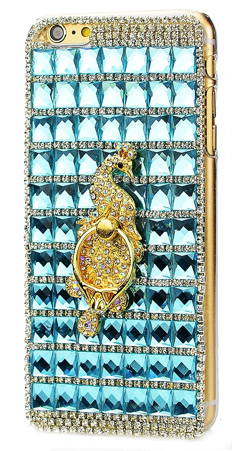 STENES Google Pixel Case - [Luxurious Series] 3D Handmade Shiny Crystal Sparkle Bling Case With Retro Bowknot Anti Dust Plug - Classic Lattice Grid Peacock Ring Stand Feature/Blue