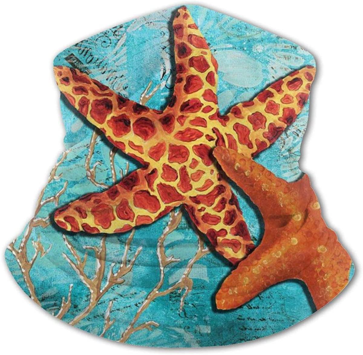 Starfish Under The Sea Art Face Mask Neck Gaiter Cooling Scarf Boy Girl Balaclava