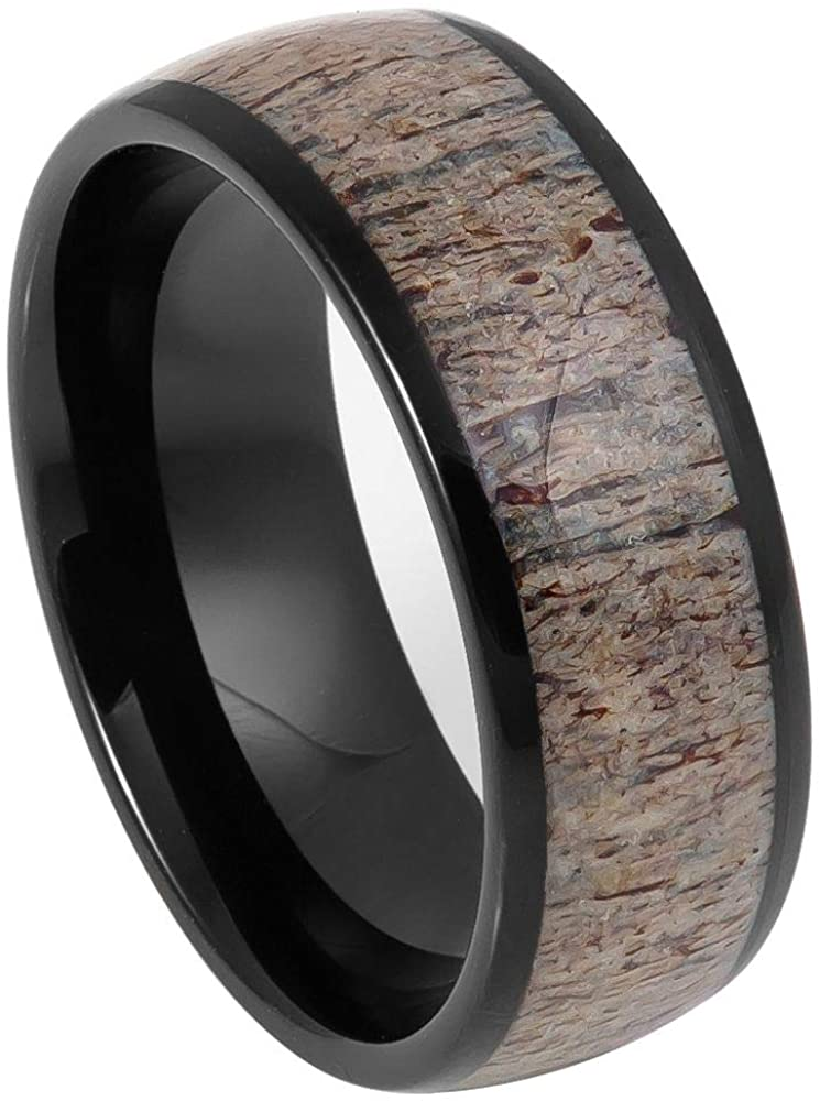 CloseoutWarehouse Yellow Or Black Plated Tungsten Deer Antler Center Dome Band Ring