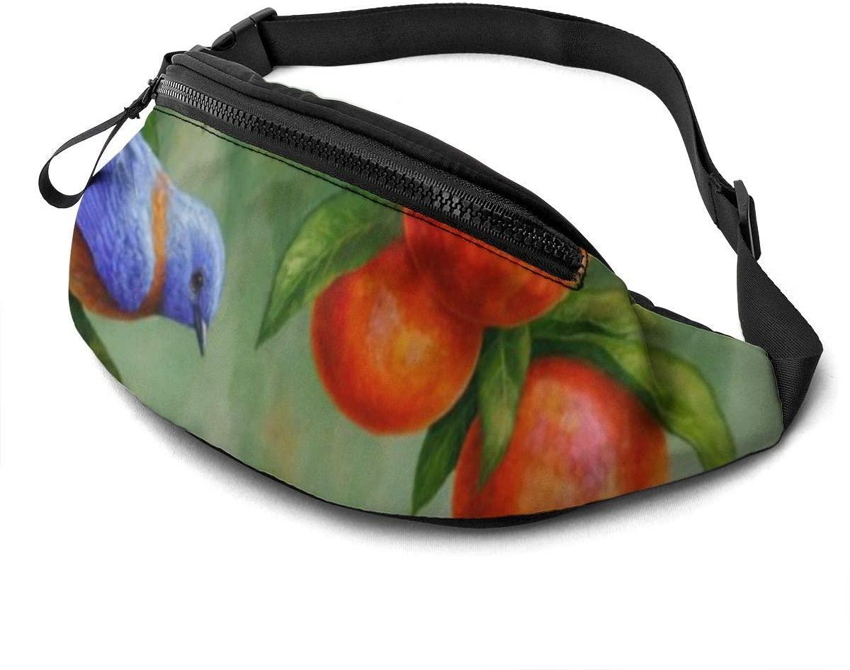 Bluebirds And Peaches Fanny Pack Fashion Waist Bag