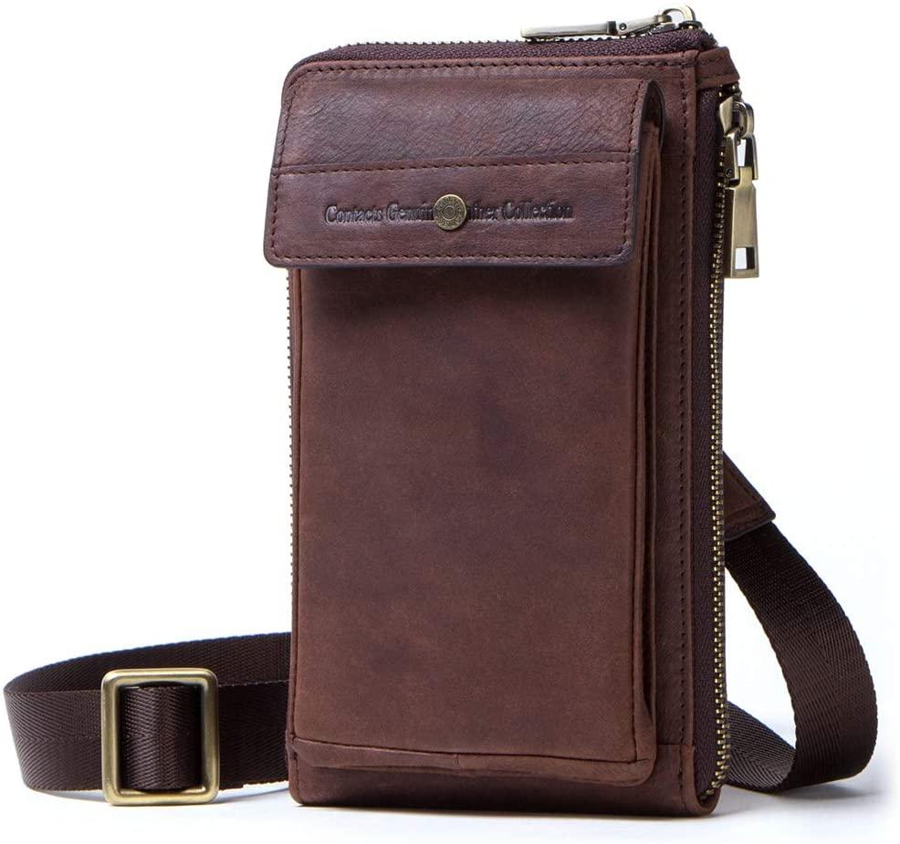 Contacts Genuine Leather Men Belt Waist Bag Zipper Phone Pouch Purse Wallet (Coffee)