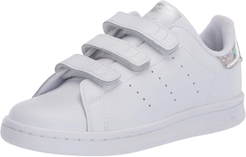 adidas Originals Kids' Stan Smith Cloudfoam Sneaker, Footwear White/Footwear White/Core Black, 13K