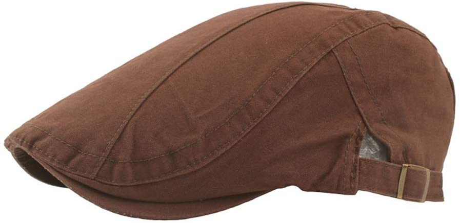MADONG Leisure Beret Cap Cotton Casual Summer Winter Golf Newspaper Drive Taxi Flat Cap Twill Forward Cap Mens Washed Cotton Solid Colour (Color : Coffee, Size : 56-58CM)