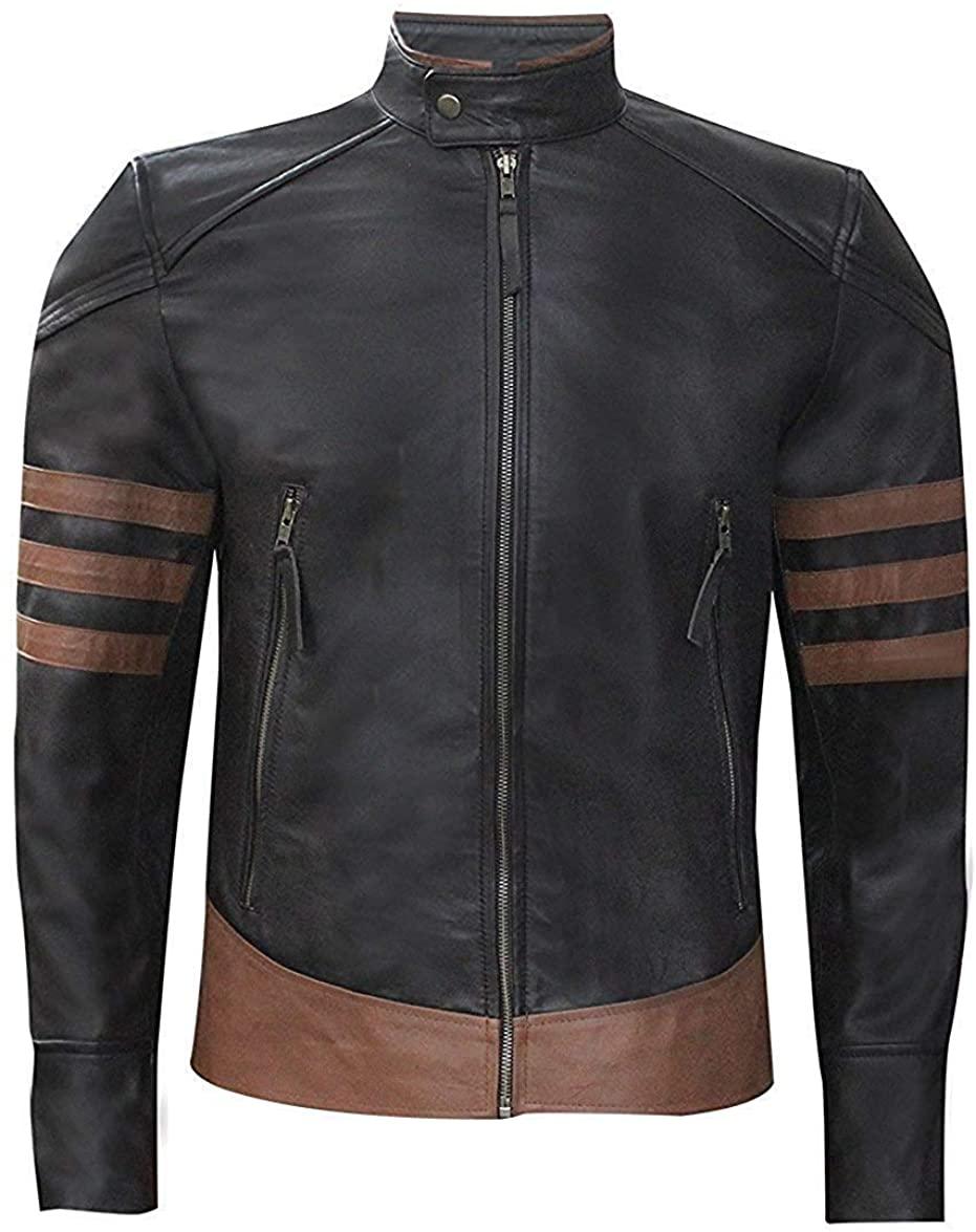 Roshan Mens X-Men Origins Wolverine Hugh Jackman Strips Design Genuine Leather Jacket - Brown - XXXX-Large