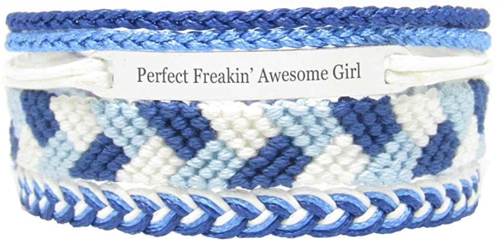 Miiras Family Engraved Handmade Bracelet - Perfect Freakin' Awesome Girl - Blue - Made of Embroidery Thread and Stainless Steel - Gift for Girl