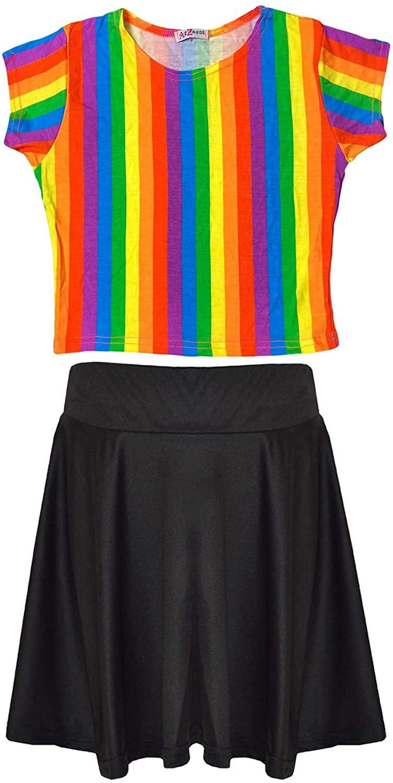 Kids Girls Rainbow Crop Top Skirt Multi Color Summer Wear Outfit Set 5-13 Years