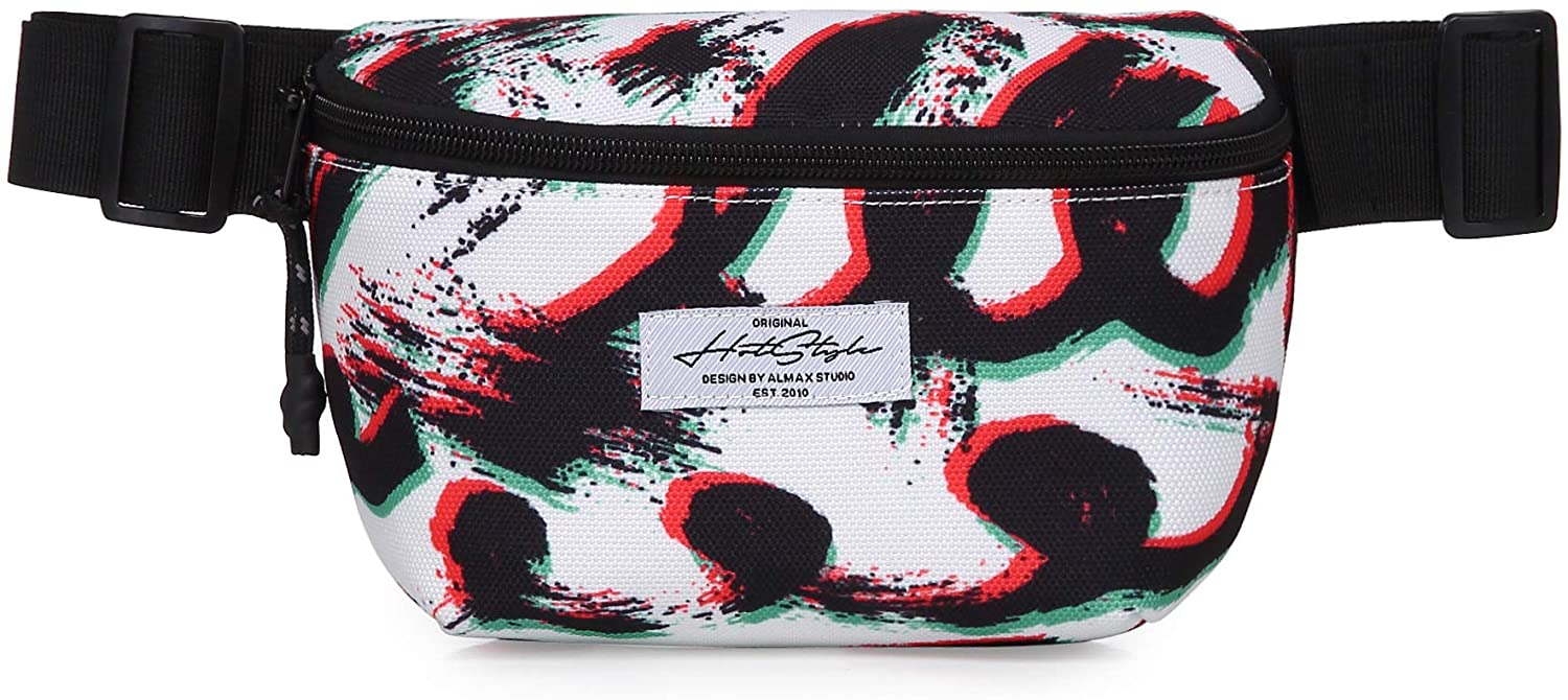 7211s Cute Small Fanny Pack Waist Purse Hip Bag for Everyday, Graffiti, White