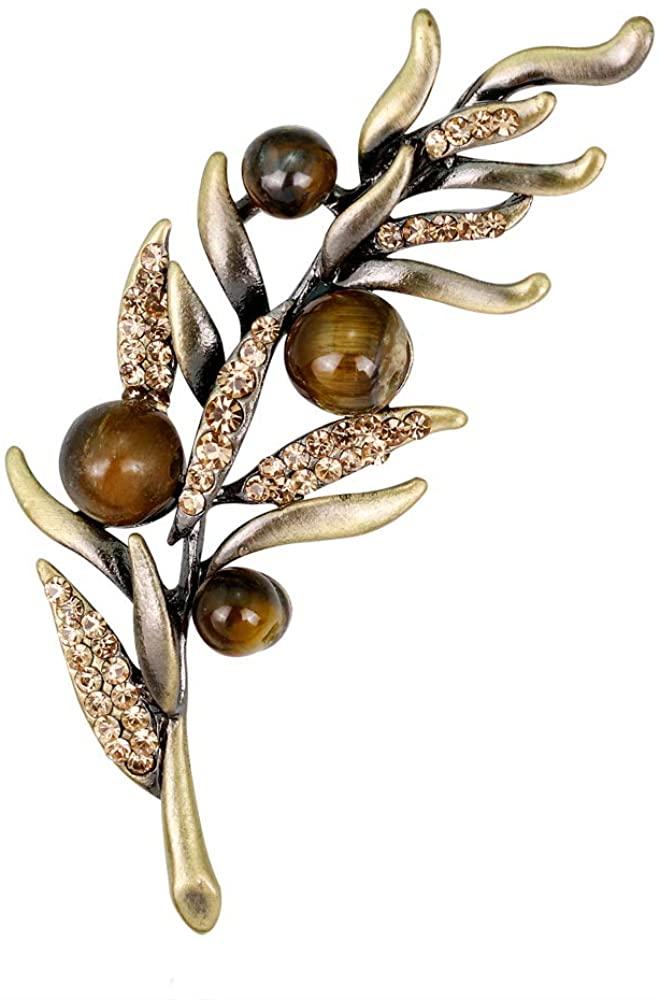 YAZILIND Vintage Rhinestone Leaf Brooch Pins Women Breastpin Corsage Girls Jewelry Gift