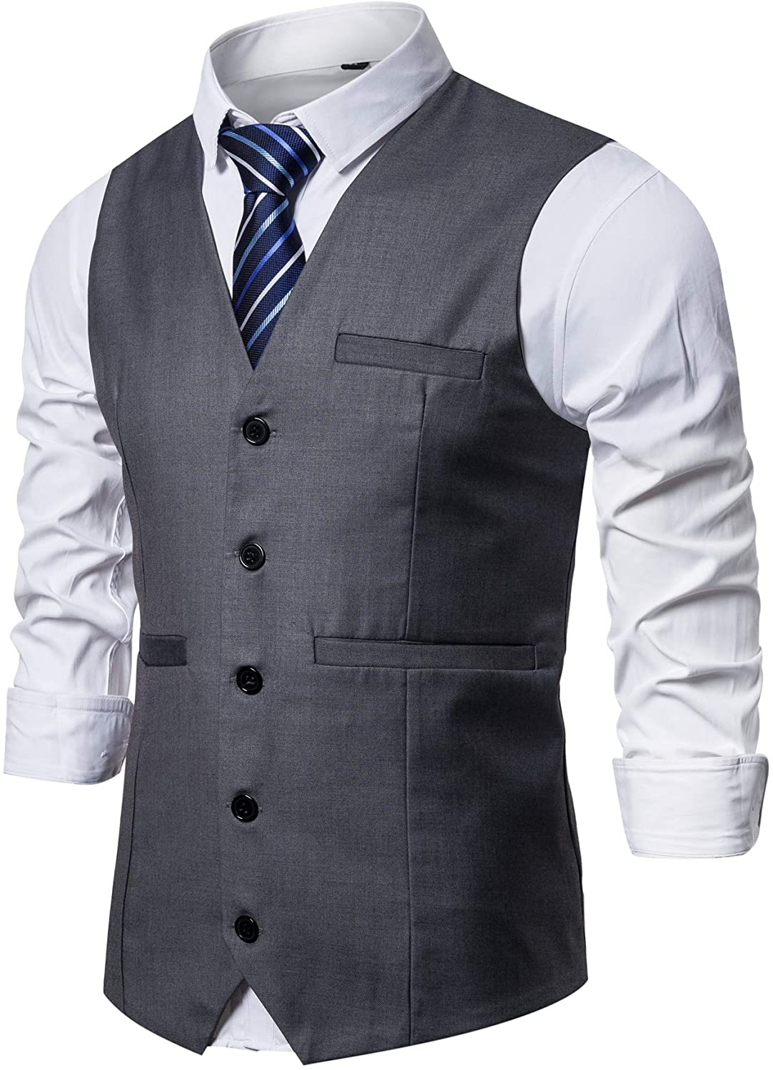 AOYOG Mens Formal Business Suit Vests 5 Buttons Regular Fit Waistcoat for Suit or Tuxedo