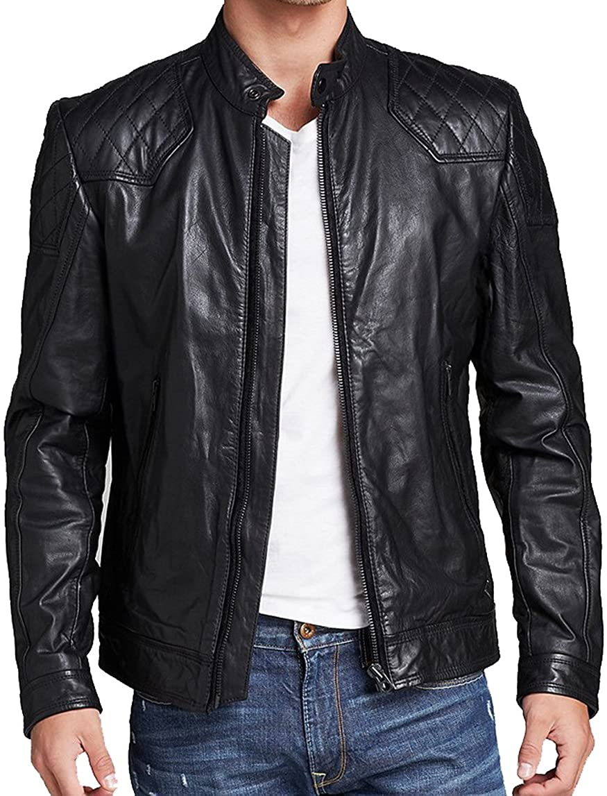 Mens Genuine Lambskin Leather Jacket MJ 126