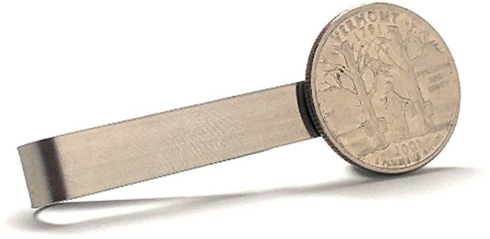 Williams and Clark Tie Clip Collector Vermont State Quarter Enamel Coin Tie Bar Travel Souvenir Coins Keepsakes Cool Fun