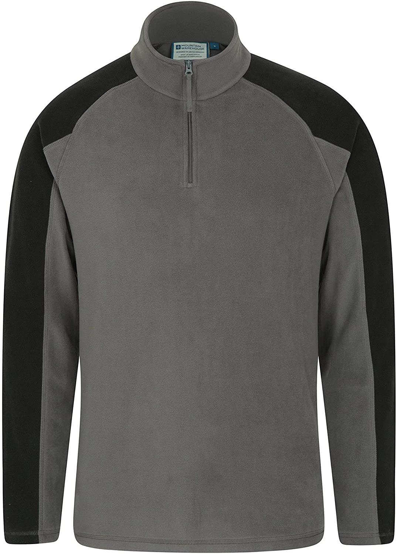 Mountain Warehouse Mens Fleece - Microfleece Sweater-Best for Camping Dark Grey Large