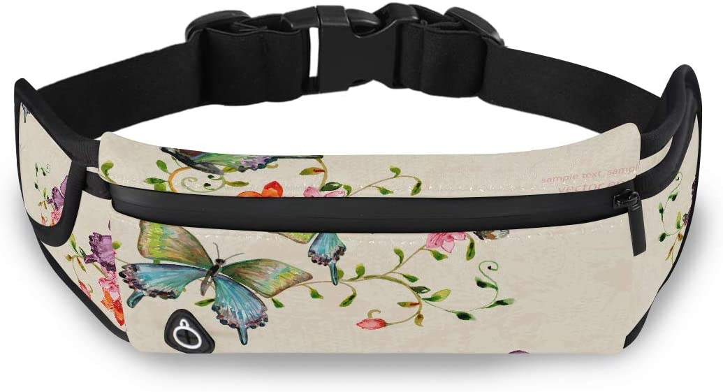 Mother Day Animal Butterfly Floral Flower Mens Fanny Pack Fanny Pack Waist Mens Fashion Work Bag With Adjustable Strap For Workout Traveling Running