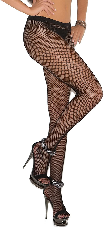 Elegant Moments Women's Fishnet Pantyhose with Rhinestone Back Seam