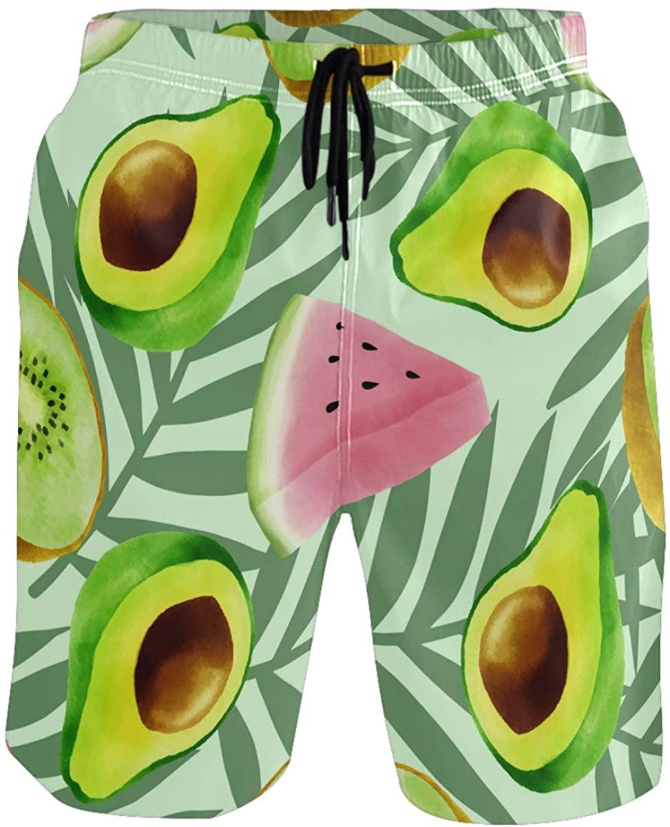 RunningBear Men's Swim Trunks - Watercolor Tropical Fruits Summer Beach Short Men Quick Dry Beach Swimwear