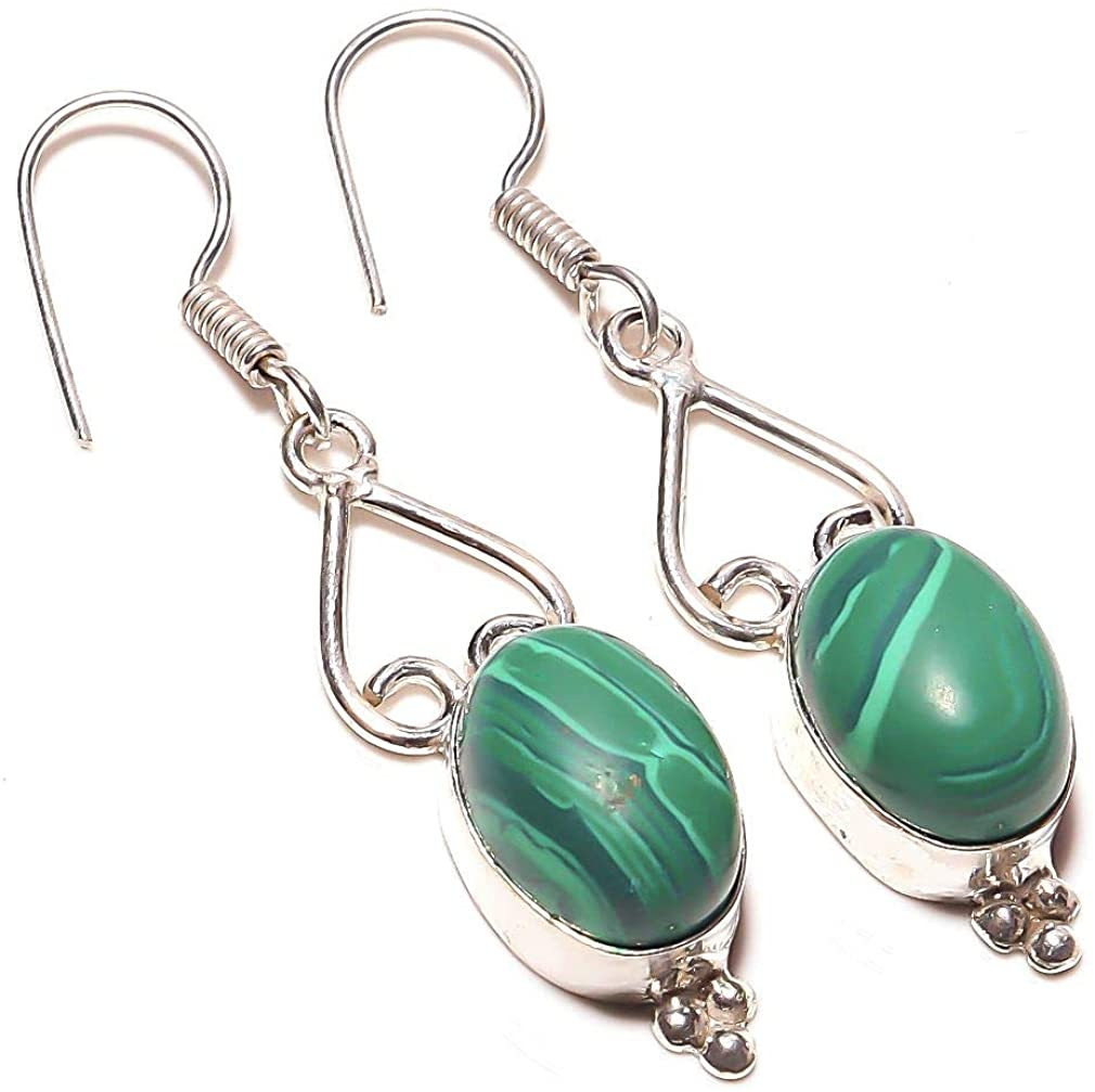 Best Match! Green Malachite HANDMADE Jewelry Sterling Silver Plated Earring 1.75