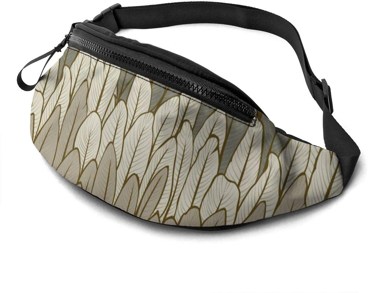 Pattern With Feathers Fanny Pack For Men Women Waist Pack Bag With Headphone Jack And Zipper Pockets Adjustable Straps