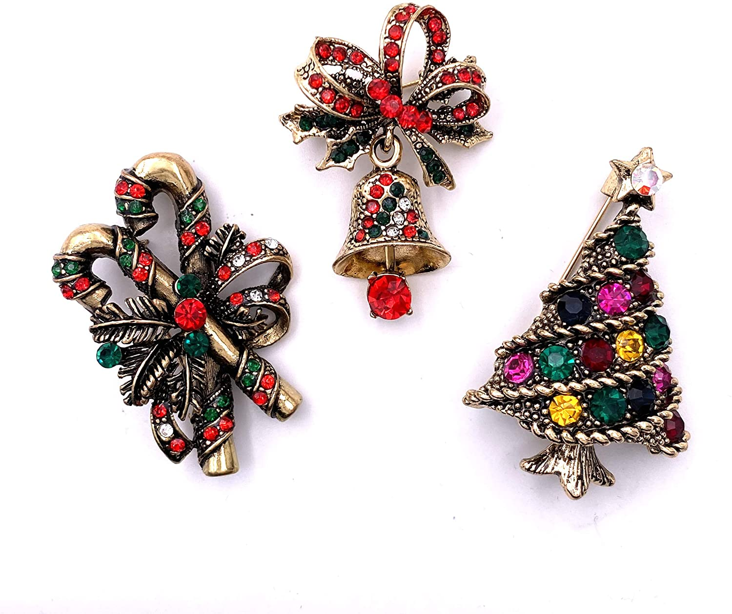 LAXPICOL 3PCS Vintage Sparkly Austrian Crystal Christmas Tree&Christmas Bell&Christmas Candy Brooch Pin Hat Pin Scarf Pin