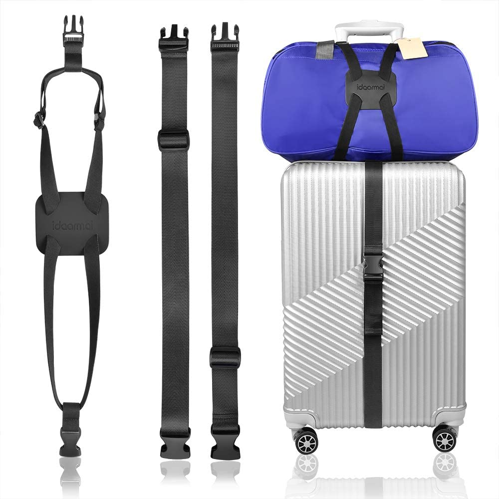 IDEARMEI Luggage Straps Suitcase Adjustable Belt Bag Bungee Travel Bag Accessories With Buckles And More Applications