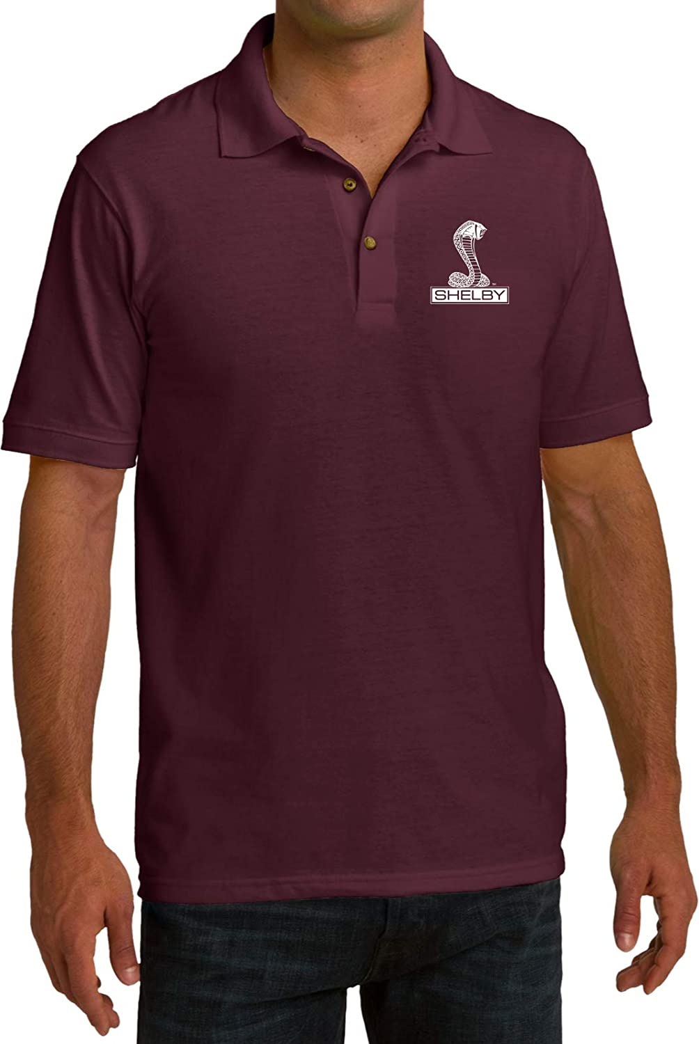 Ford Shelby Cobra Pocket Print Pique Polo, Athletic Maroon Small