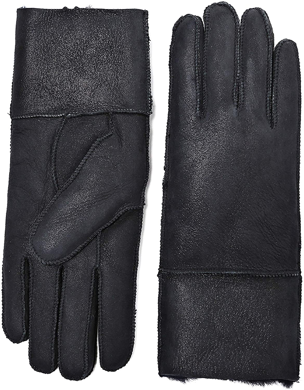 YISEVEN Womens Winter Shearling Sheepskin Leather Gloves Wool Lined Flat Design