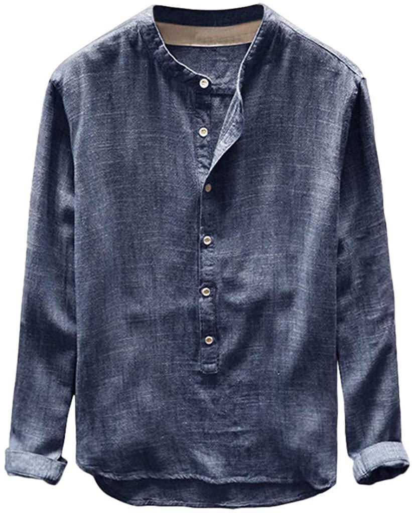 aliveGOT Men's Banded Collar Long Sleeve Linen Shirts Cotton Henley T-Shirt Top