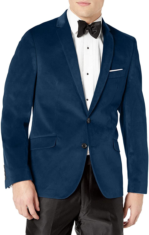 Billy London Men's Slim Fit Blazer, Blue Velvet, 46R