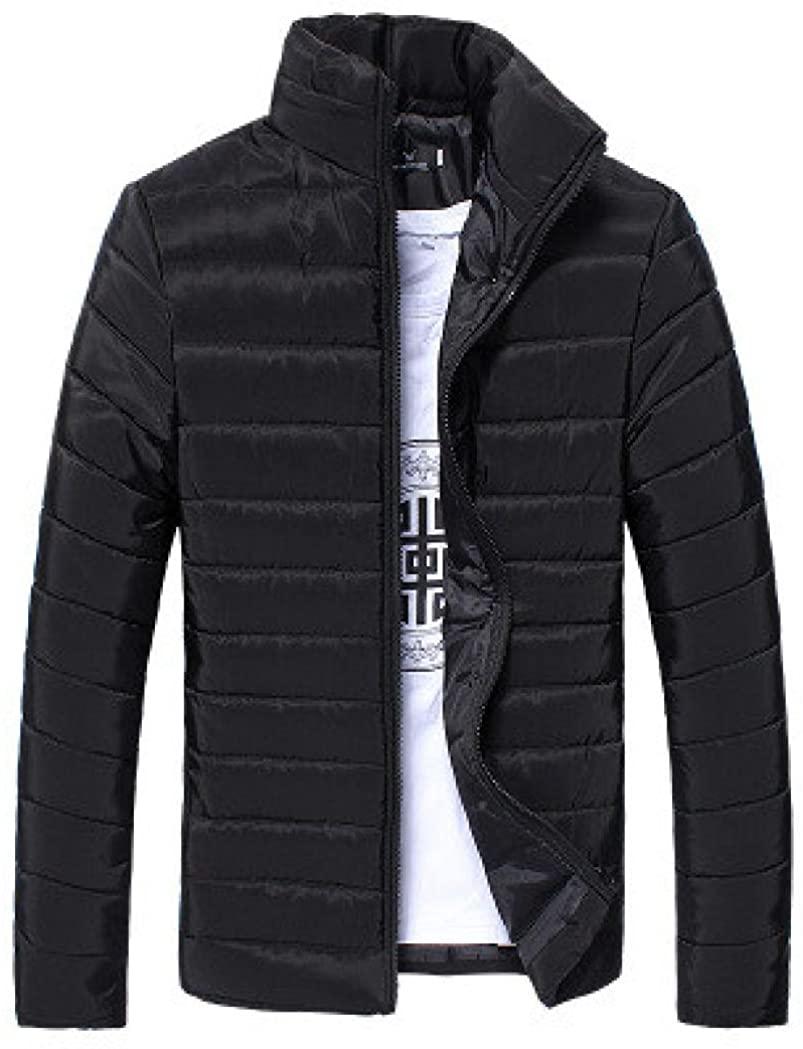 Transer Mens Winter Warm Lightweight Stand Collar Slim Zip Down Puffer Jacket (Black, 3XL)