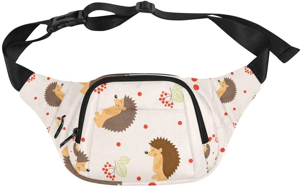 Mens Waist Packs Hedgehog Cartoon Childlike Animal Tree Design Cute Adjustable Belt Waterproof Nylon Fenny Pack Mens Waiste Bags Travel Baby Bag Fashion Classic Bag
