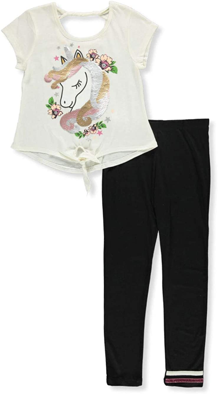 RMLA Girls' Flip Sequin Real Unicorn 2-Piece Leggings Set Outfit