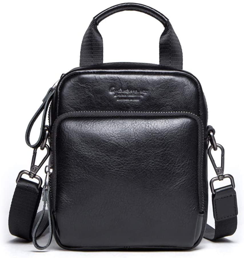 YYQX-4X Crossbody Bag Genuine Leather, Retro Leather Men's Shoulder Bag/Crossbody Leather Waist Pack Waist Pack for Men Leather,Black