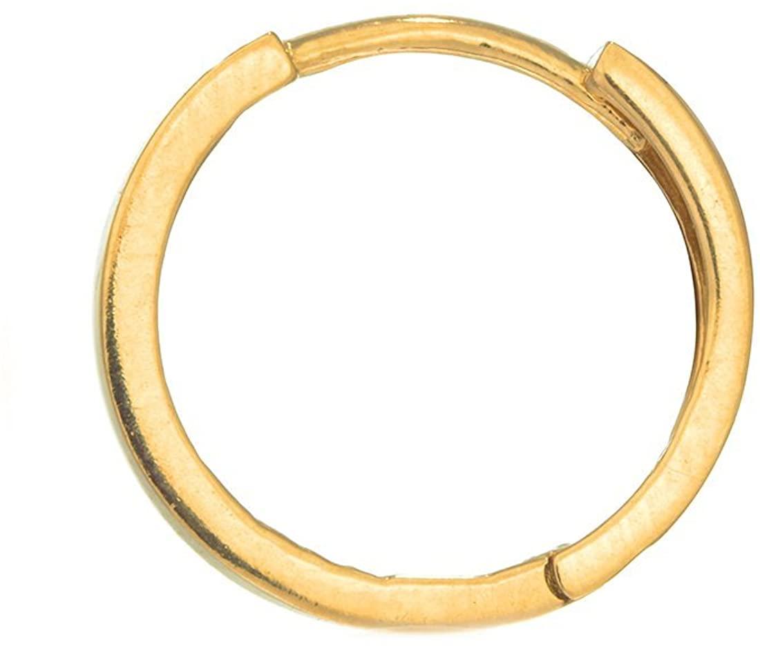 Ritastephens Men's Unisex 14K Gold Small or Regular Square Tubular Huggie Hoops Single Earring