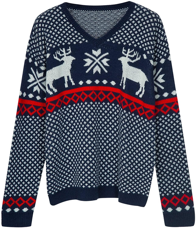 Choies Reindeer Holiday Sweaters Pullover Unisex Jacquard Reindeer Crewneck Cotton Sweater
