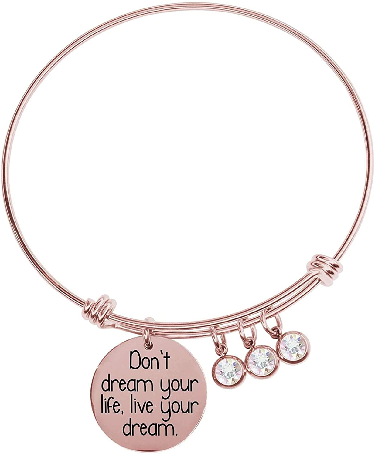 Pink Box Expandable Multi Charm Inspirational Bangles Rose Gold - Live Your Dreams