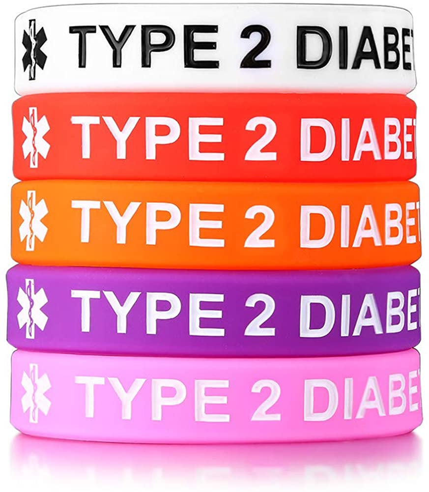 VNOX Type 1 2 Diabetes Medical Alert ID Silicone Rubber Bracelet Wristband for Boys Girls,6.7 Inches