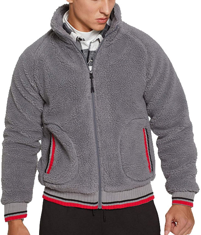 Flygo Mens Shearling Pebble Pile Fuzzy Fleece Jacket Full Zip Sweatshirt Sherpa Coat