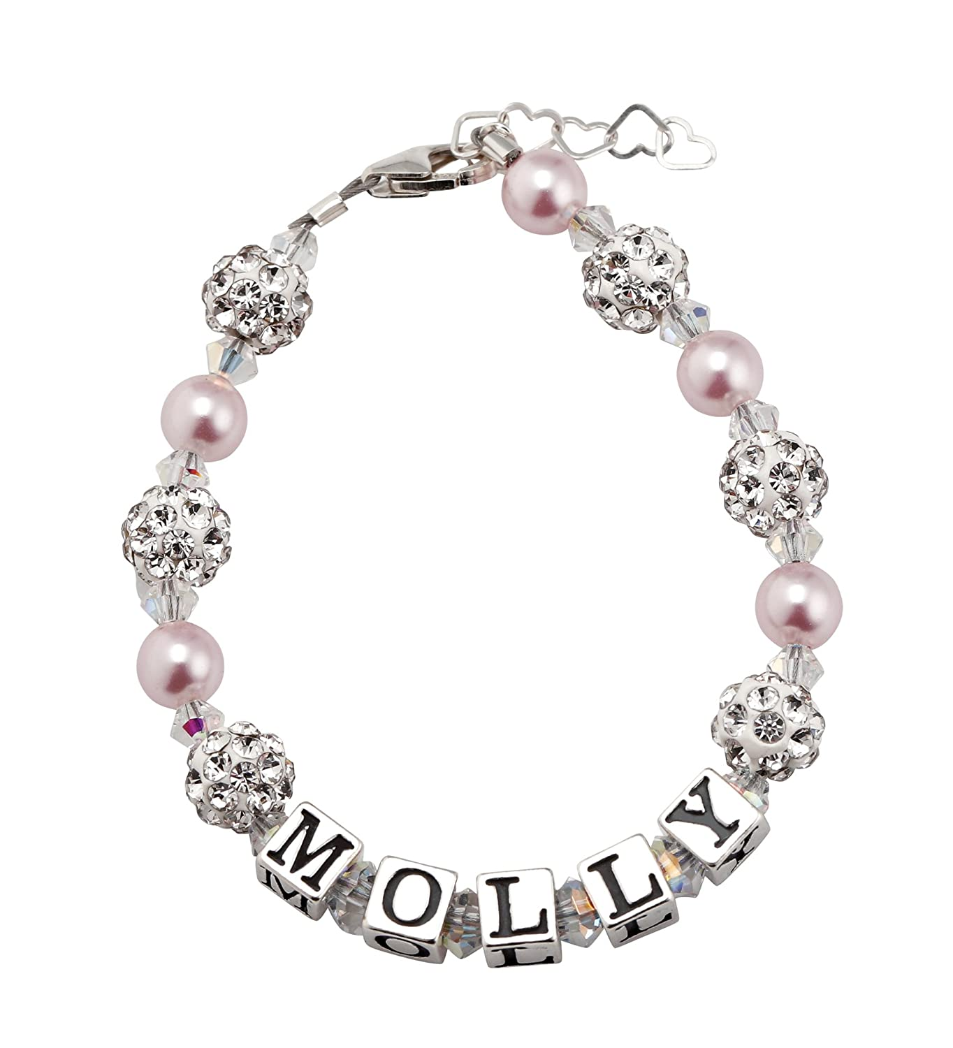 Custom Name Personalized Sparkly Beads Baby Bracelet with Pink and White Swarovski Crystals (B107_PW_M+)
