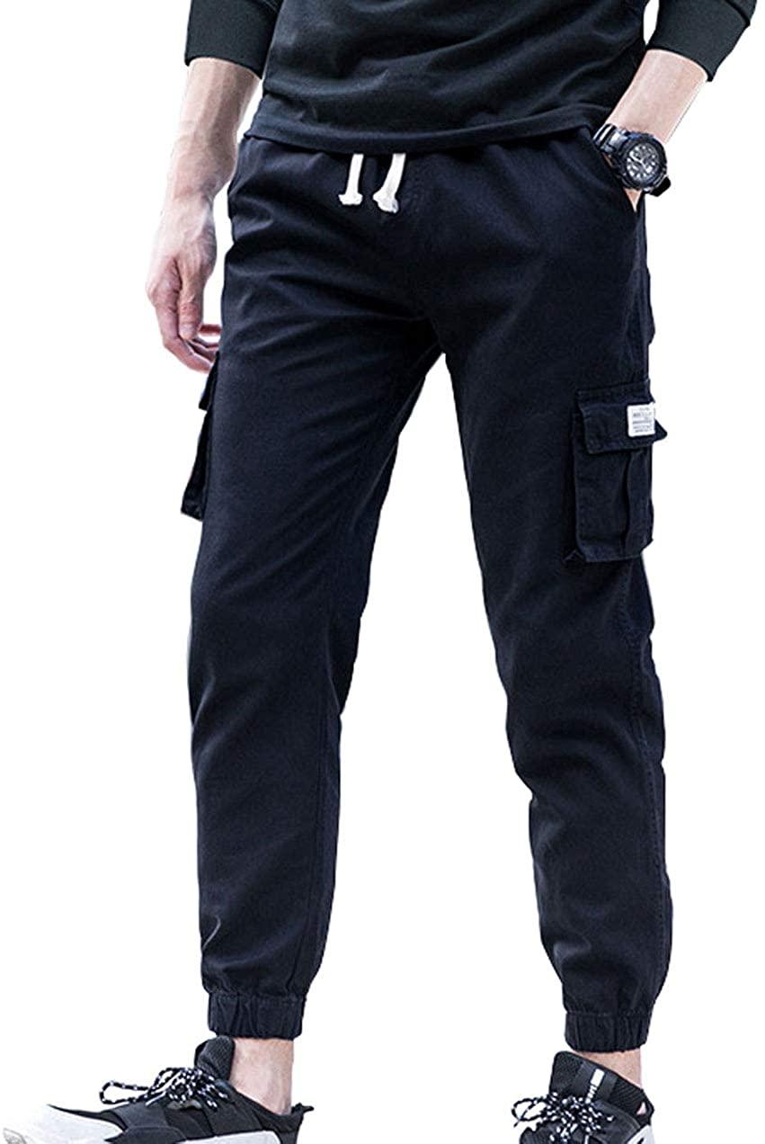 chouyatou Men's Fashion Relaxed Fit Elastic Waist Military Rugged Camo Jogger Cargo Pants