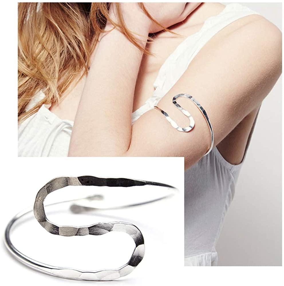 Wave Metal Upper Arm Cuff Bracelet - Minimalist Two Half Arc Open Arm Band Bracelet